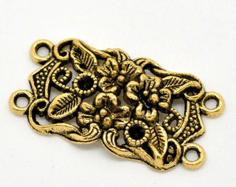 Rectangle connector flowers and leaves in antique gold (x 1)
