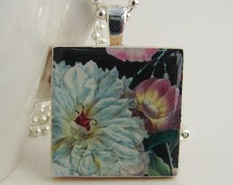White Dahlia Pendant with Free Necklace