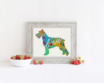 Schnauzer Love - A Colorful, Bright & Whimsical Watercolor Print Home Decor Gift - Can Be Personalized with Name (+ More Breeds)