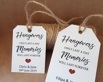 Hangover Kit Tags 10 -Personalised wedding / hen party / birthday favours gift tags. alcohol bottle guest label 2 sizes