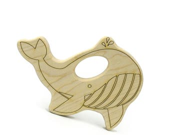 Nautical Baby Shower Whale Teether - Wooden Teething Baby Toy - Nautical Nursery - Teething Toy