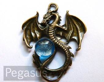 Aquarius Blue Orb Dragon Pendant (Bronze or Silver Dragon, 7 orb color) Medieval Dragon pendant for larp costumes,gifts,fantasy jewelry