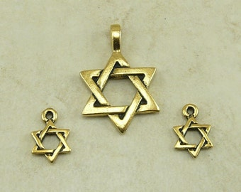 3 TierraCast Star of David Pendant and Charm Mix > 22kt Gold Plated Lead Free pewter - I ship Internationally