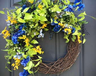 Spring Door Wreaths, Spring Door Decor, Blue Yellow Green, Blue Wreaths, Spring Wreaths, Mother's Day Gift, Housewarming Gift, Door Wreaths