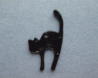 5 Cat Charms - Cat Pendants - Halloween Charm - Enamel Cat Charm - Black Cat Charm - Silver Tone - 27mm x 17mm -- (No.66-12117)