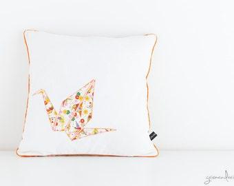 Origami Pillow Cover - Orange Cranes