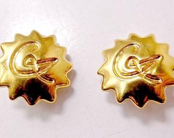 Vintage Christian LACROIX gold tone sunburst clip Earrings. Vintage high fashion. 1980.