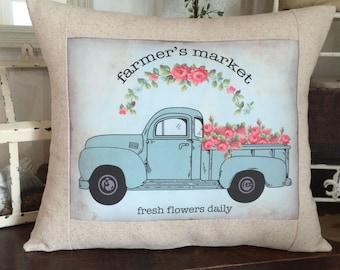 Vintage Shabby Chic Farmers Market Aqua Flower Truck Farmhouse Pillow, Farmhouse Throw Pillow Cover, Cottage Style Pillow