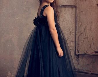 Black Sequin Flower Girl dress, Black Tulle Dress,Black Christmas Dress,Party Dress,Holiday Dress, Black Junior Bridesmaid