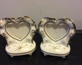 Vintage Pair of Handpainted Porcelain Heart Shaped Photo Frames —  Rhinestones with Gold Trim Shabby Chic Baby Nursery