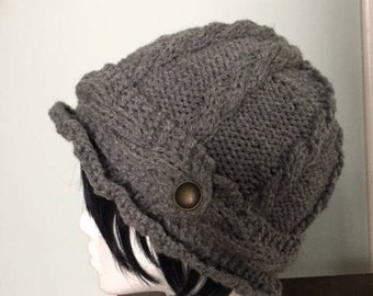 Gray cable hat