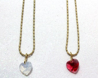 Swarovski Little Girl Heart Pendant, Rose or White Opal, Little Girl Necklace, Heart Necklace