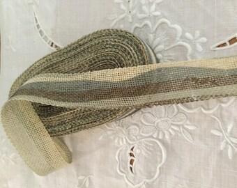 Burlap 3mt length  green/beige striped ribbon cut to length