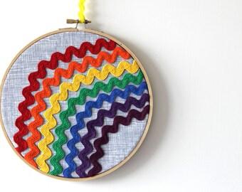 Rainbow Wall Art: Rainbow Ric Rac hoop art