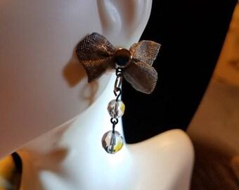 Gunmetal Gray Mesh Bowtie and Crystal Earrings