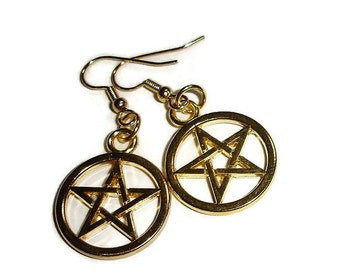 Goldtone Pentagram Earrings goldtone pentacle earrings wiccan earrings pagan earrings pentagram post earrings hypoallergenic lever pentacles