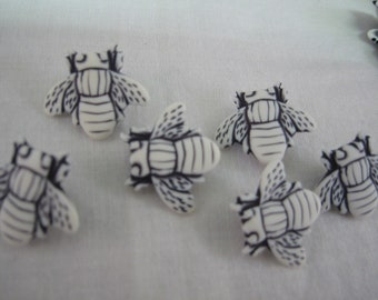 Bee Button Lot of 6 White