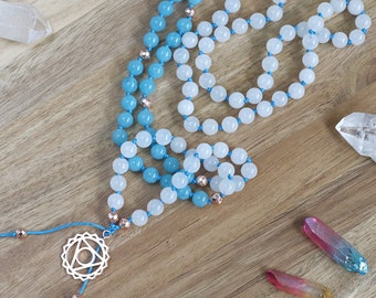 Snow Quartz mala necklace, mantra beads, buddhist prayer beads, spiritual jewelry, yoga jewelry, knotted mala necklace with pendant
