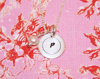 Mini cirled initial handstamped necklace