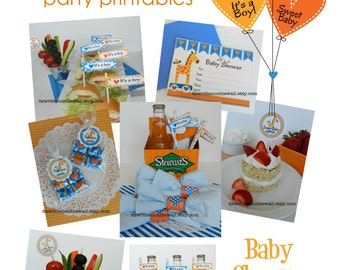 Boy  Baby Shower Party Printables INSTANT DOWNLOAD  Nugget Wraps, Invitation, Tags, Drink Wraps, Game etc