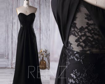 Black Chiffon Bridesmaid Dress, Strapless Lace Wedding Dress, Backless A Line Prom Dress, Long Evening Gown Floor Length (L158)