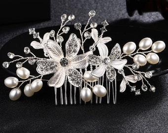 Floral Bridal Comb,Floral Wedding Comb,Bridal Hair Comb,Wedding Hair Accessory,flower pearl Hair Comb,Pearl Comb,Bridal Headpiece HS-J4556