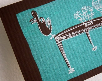 CURIOS | funny rooster on a retro marble coffee table in mint and chocolate, original small art print with a white mat by Kathryn DiLego