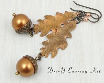 DIY Earring Kit - Oak Leaf and Acorn Earrings - Mixed Metal Fall Jewelry Autumn Earrings - Leaf Jewelry Supplies Kit