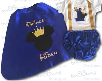 Mickey Prince Personalised Baby Boy 1st Birthday Outfit, 1st Birthday dress up, Cake Smash Outfit, Baby photo shoot outfit, Royal Blue