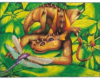 Orange Dragon Poster, Print or Canvas