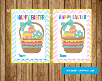 Easter basket tags, Printable Happy Easter tags, Easter printable tags Instant download