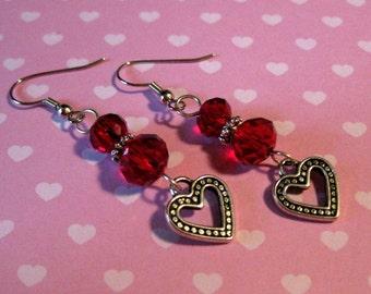 Heart Red Crystal Dangle Earrings