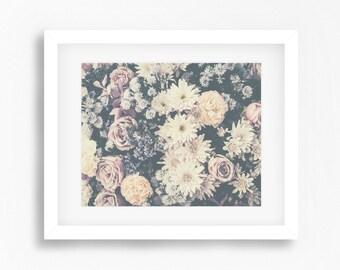 Vintage flowers photography print - Neutral earthy tones print - Flowers photo print - Floral photography print - Modern wall art