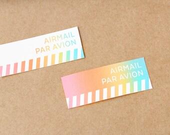 Rainbow Ombre Airmail Air Mail Par Avion Sticker Set