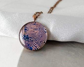 Copper Circuit Board Necklace, Geek Graduation Gift, Engineer Gift, Recycled Computer Jewelry, Motherboard Necklace, Gift for Her, Geekery