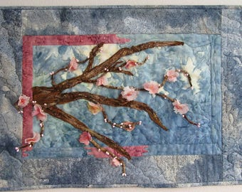 "Cherry Blossom Art Quilt, Quilted Wall Hanging, Spring Art Quilt, OOAK Quilt, 3-Dimensional, Home Decor, 26"" x 18"""