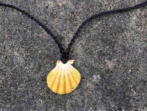 UNISEX-Hawaiian Sunrise Shell, Hawaiian Puka Shell, Satin Cord Necklace