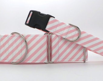 Pink Candy Stripe Dog Collar (Martingale, Buckle or Tag)