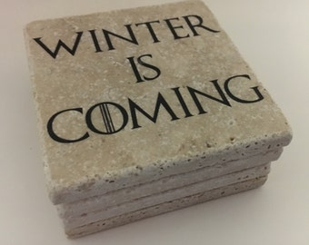 Winter is Coming Game Of Thrones Natural Travertine Tile Tumbled Stone Table Coasters Set of 4 with Full Cork Bottom