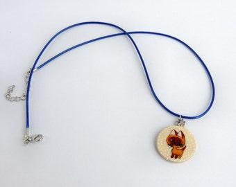 Cute kitten necklace, kids jewellery, little kitten pendant, handpainted children jewelry, cat jewelry,cat necklace, gift for girl, kawaii