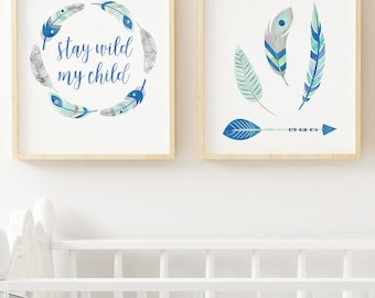 navy mint gray nursery, mint navy nursery decor, arrow feather nursery, tribal boy nursery, stay wild my child printable boy room wall art