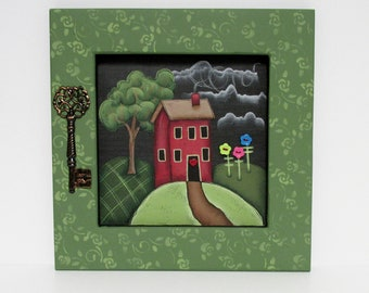 Red House, Decorative Key, Framed in Reclaimed Pine Wood, Green Tree, Colorful Flowers, Hand or Tole Painted, Home Sign, Red Heart, Folk Art