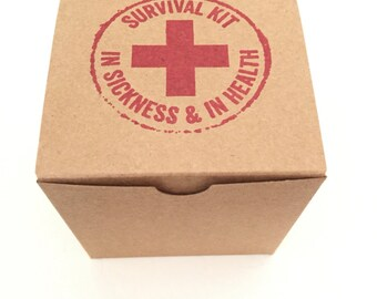 10 Survival Kit Box - Bachelorette Favor Box - Hangover Kit - Wedding Favor Box - Bachelor Favor Box - Emergency Kit Box