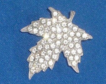 Brooch - Maple Leaf - Rhinestone Pin - Vintage