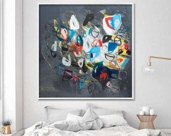 "Large Wall Art of abstract acrylic painting Giclee Fine Art Print up to 40x40"" grey modern Painting"