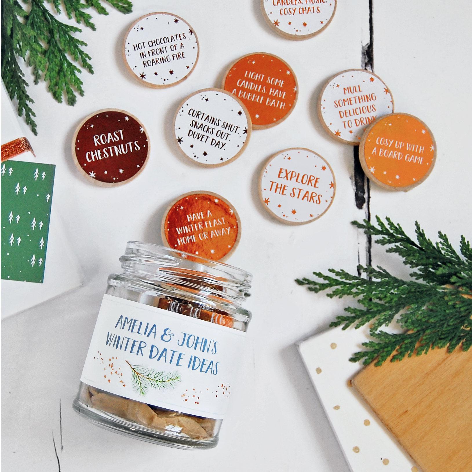Personalised COUPLES WINTER DATE Ideas Jar Personalised Gift