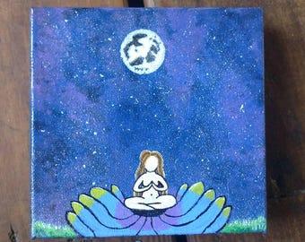 Spiritual home decor,boho home decor, yogi home decor, lotus decor, lotus painting, hand painted canvas, painted universe, moon and stars