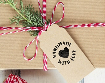 Rubber or Self Inking Stamp - Handmade with Love Stamp with a heart in a cute brush font