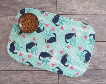 Cat Food Placemat - Cats With Sunglasses Cat Food Mat - Cat Placemat - Pet Food Mat - Pet Placemat