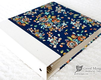 0 to 12 months Baby Memory Book - Teal Floral